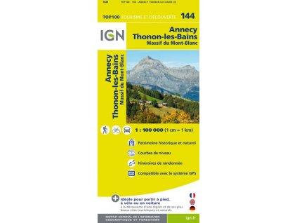 Annency, Thonon-les Bains, Chamonix - turistická mapa (IGN 144)