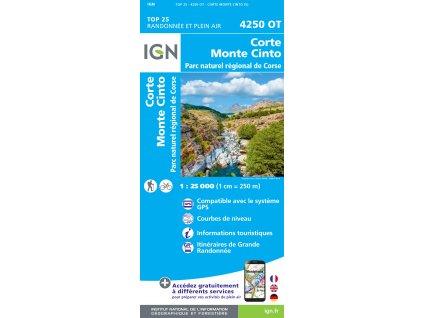 Corte, Monte Cinto  - turistická mapa (IGN 4250OT)