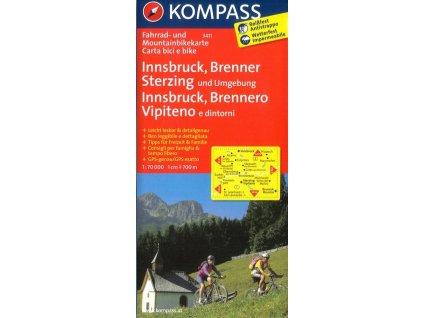 Innsbruck, Brenner, Sterzing (cyklomapa Kompass č. 3411)