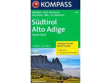 Südtirol, Alto Adige, Jižní Tyrolsko - set 4 map (Kompass 699)