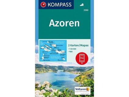 Azoren, Azorské ostrovy – set 2 turistických map (Kompass - 2260)