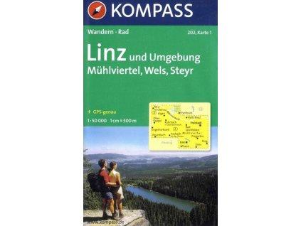 Linz a okolí, Mühlviertel, Wells, Steyr (Kompass č. 202)