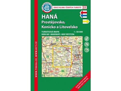 Haná -  Prostějovsko -  Konicko a Litovelsko -  mapa KČT č.51