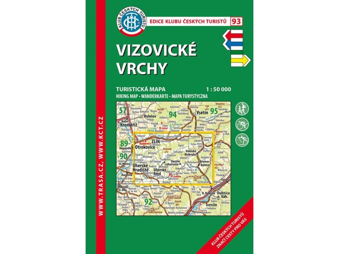 Vizovické vrchy -  mapa KČT č.93