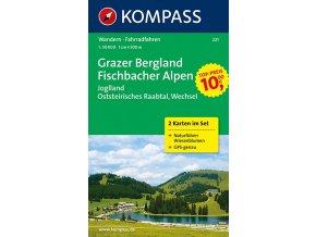 Grazer Bergland, Fischbacher Alpen, set 2 map (Kompass - 221)
