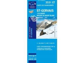 Saint-Gervais-Les-Bains, Massif du Mont Blanc - turistická mapa (IGN 3531 ET)