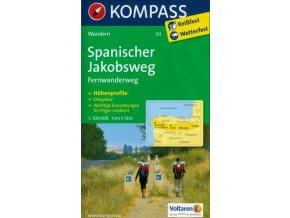 Spanischer Jakobsweg, turistická mapa svatojakubské cesty (Kompass - 133)