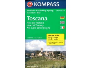 Toskánsko - set 4 turistických map (kompass č. 2440)