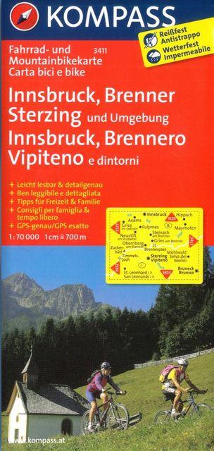 Innsbruck, Brenner, Sterzing (cyklomapa Kompass č. 3411) - turistická mapa