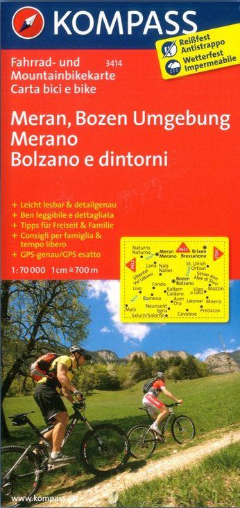 Meran, Bozen Umgebung (cyklomapa Kompass č. 3414) - turistická mapa