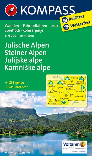 Julische Alpen, Steiner Alpen - Julské a Kamnišké Alpy (Kompass - 2801) - turistická mapa