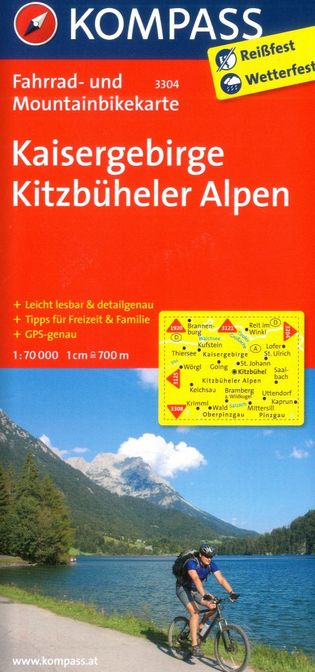 Kaisergebirge, Kitzbüheler Alpen - cyklomapa (Kompass č.3304) - turistická mapa