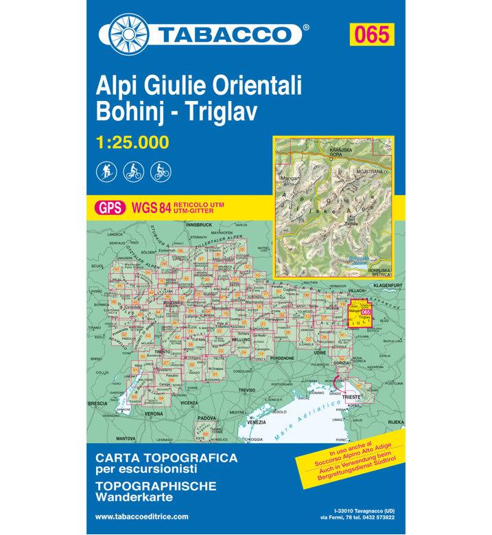 Julské alpy, Triglav, Bohinj (Tabacco - 065) - turistická mapa | knihynahory.cz