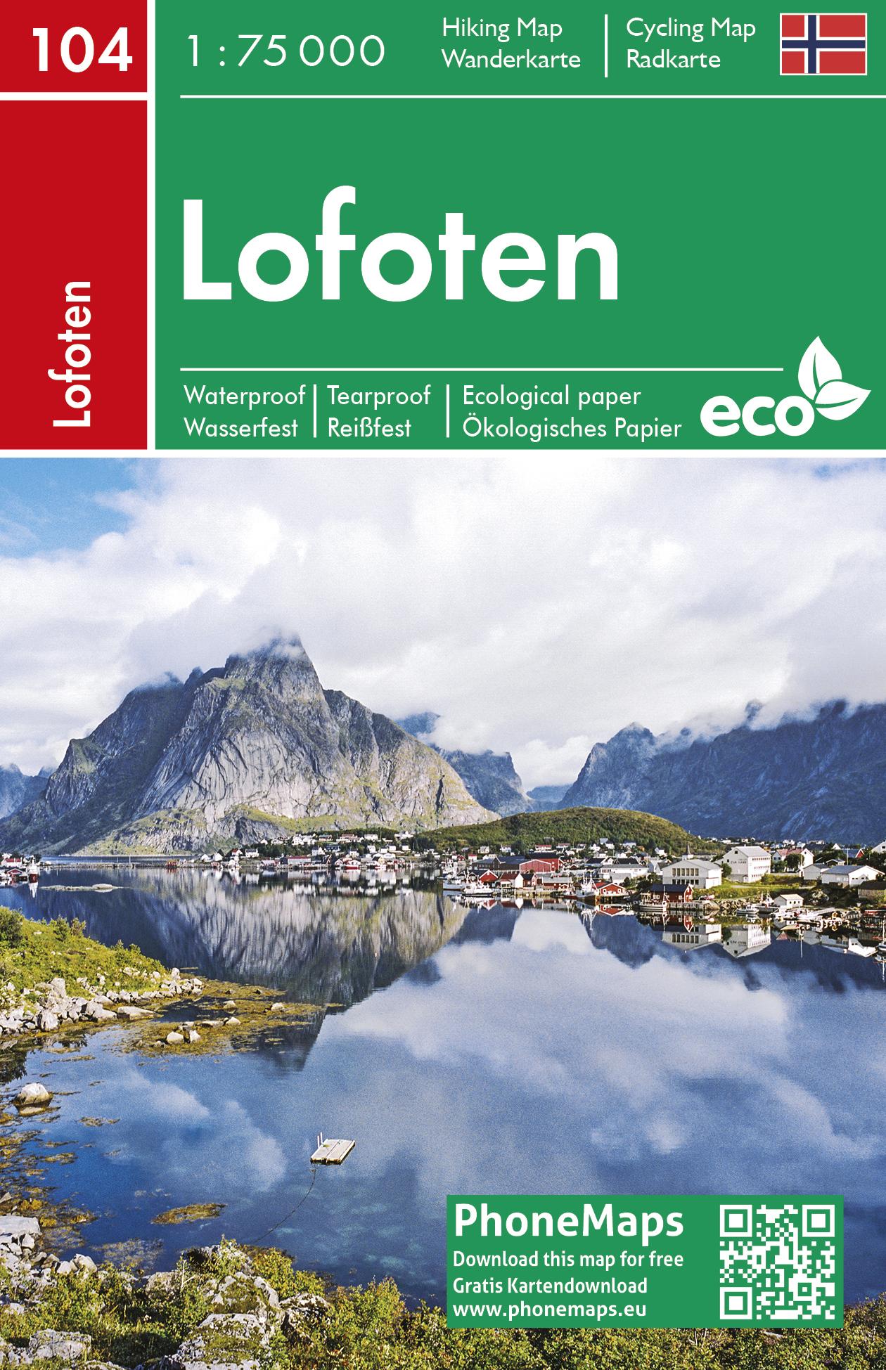 Lofoten - Lofoty - turistická mapa
