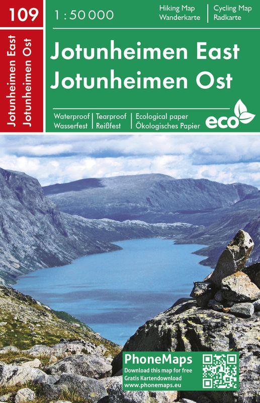 Jotunheimen východ - turistická mapa