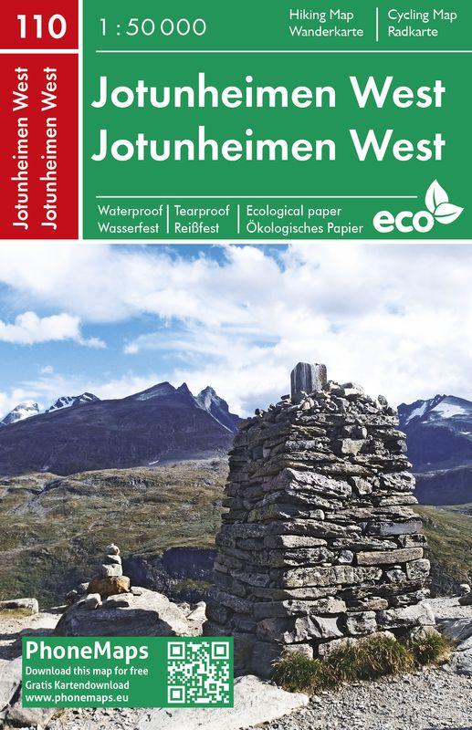 Jotunheimen západ - turistická mapa