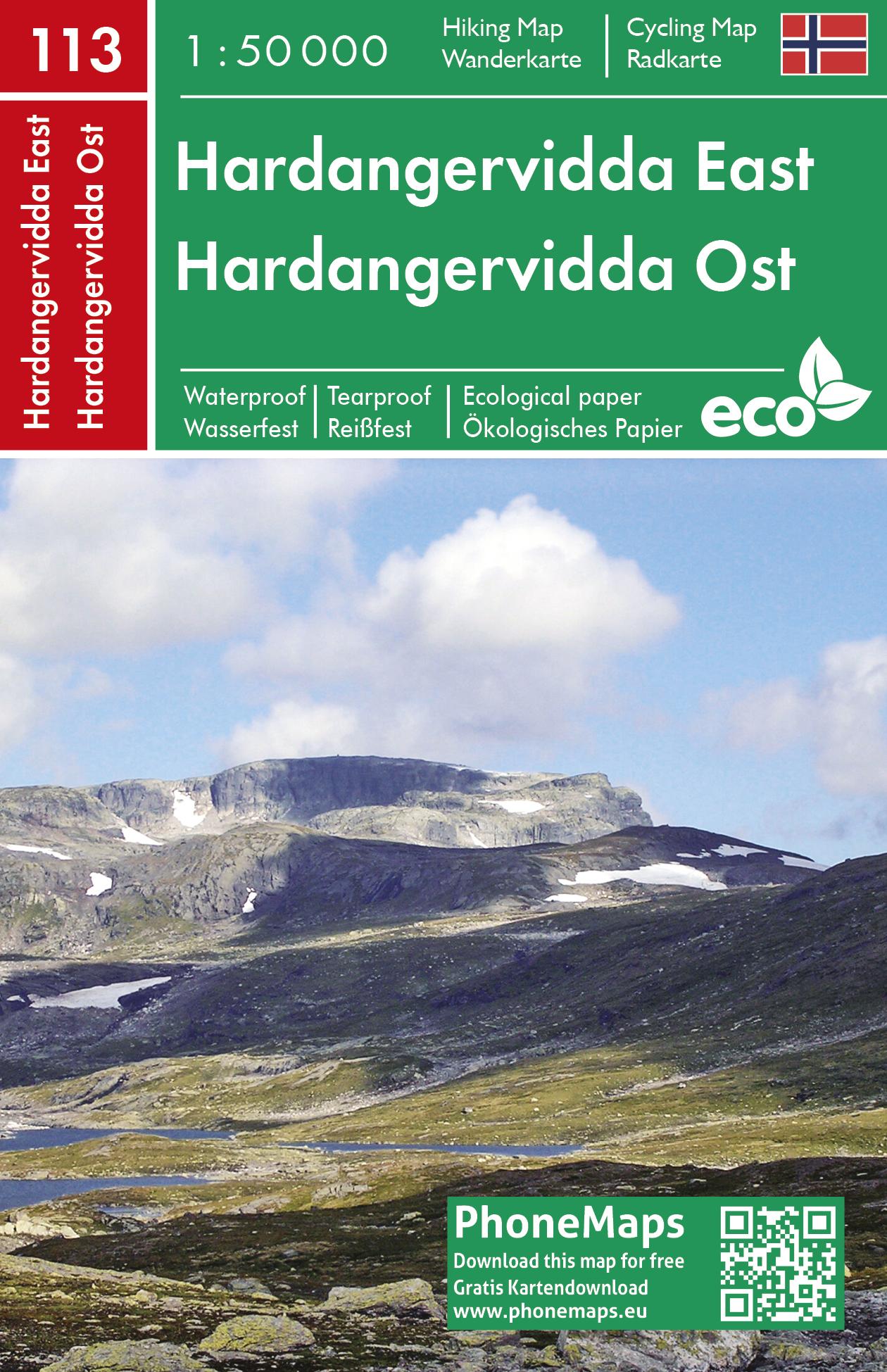 Hardangervidda východ - turistická mapa