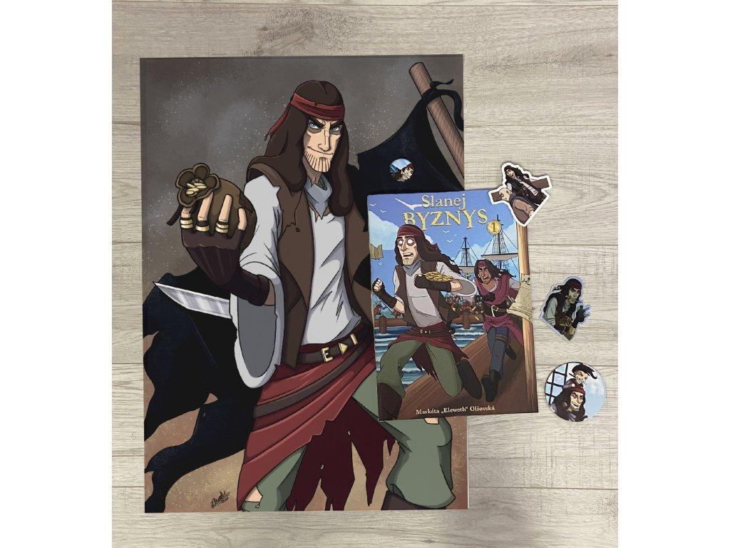 Balíček komiksu Slanej byznys s plakátem, samolepkami, magnetkou a plackou