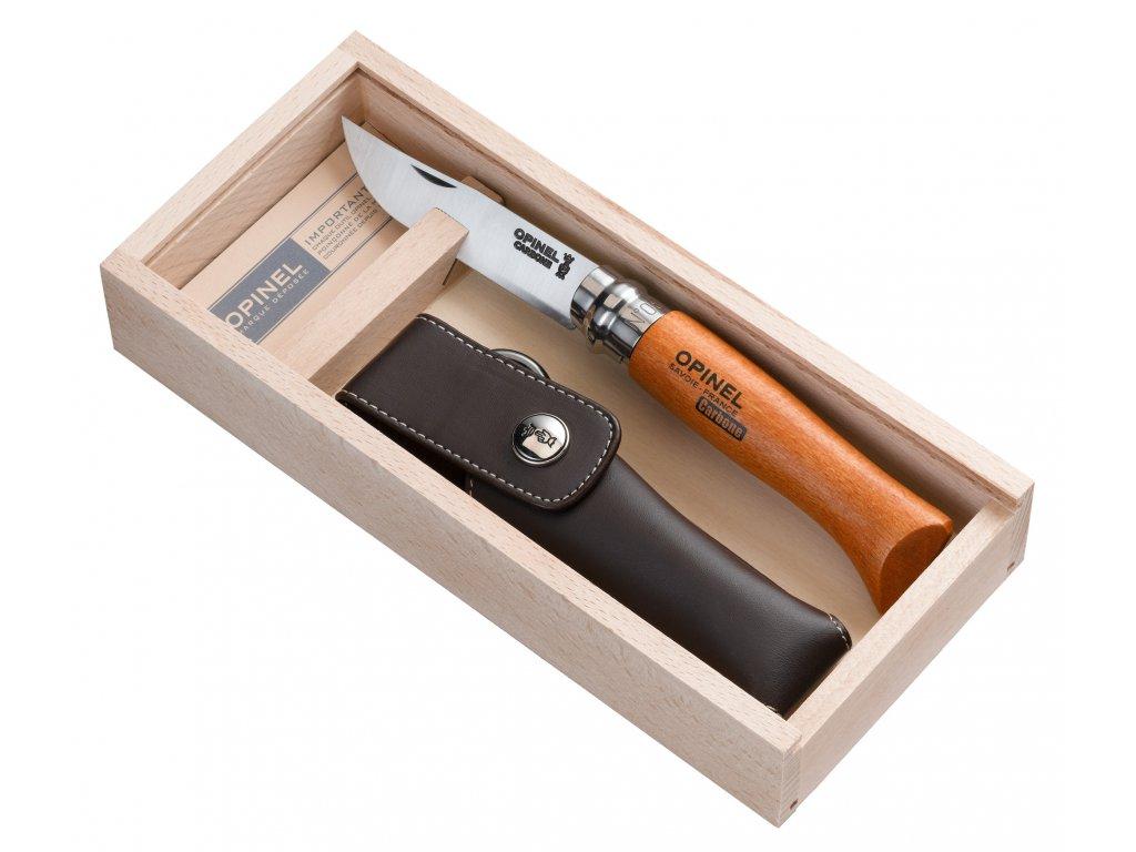 Nůž Opinel VRN N°08 Carbon + pouzdro, drevěná krabička