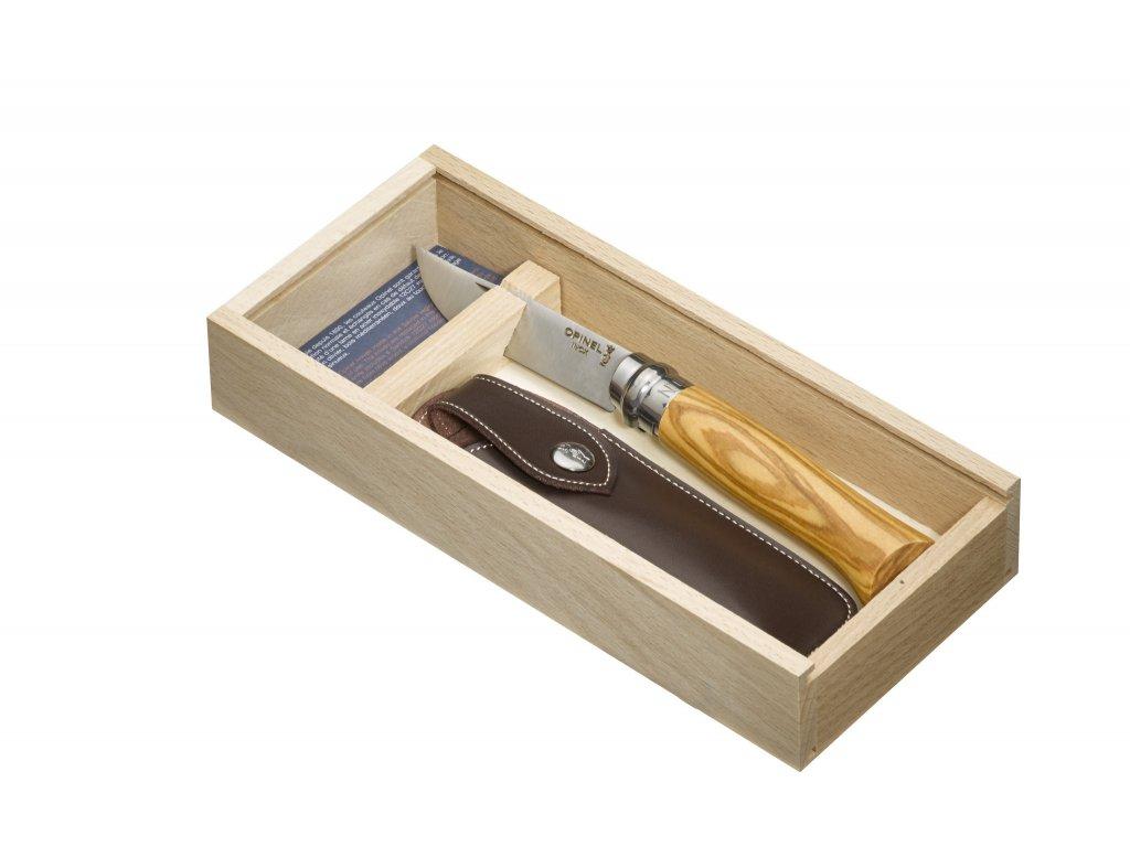 Nůž Opinel VRI N°08 Inox Oliva + krabička a pouzdro