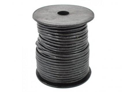Kožená šňůrka kulatá černá 3 mm