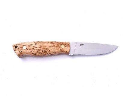 Nůž Brisa Trapper 95 N690 Flat / Stabilized Curly Birch / Sheath Bushcraft 95