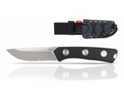 Nůž ANV P200 - SERRATED EDGE, KYDEX SHEATH BLACK