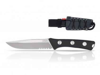 Nůž ANV P300 - SERRATED EDGE, KYDEX SHEATH BLACK