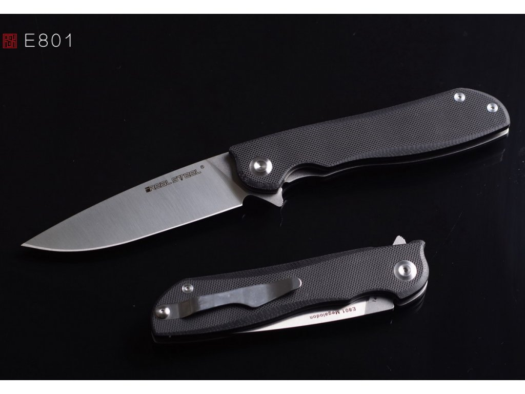 noz real steel e801 megalodon G10 black RS7420 1
