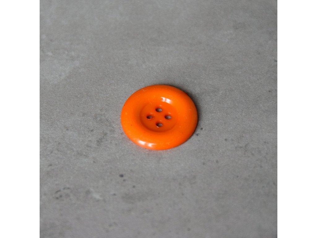 Knoflík - čtyřdírkový - oranžový