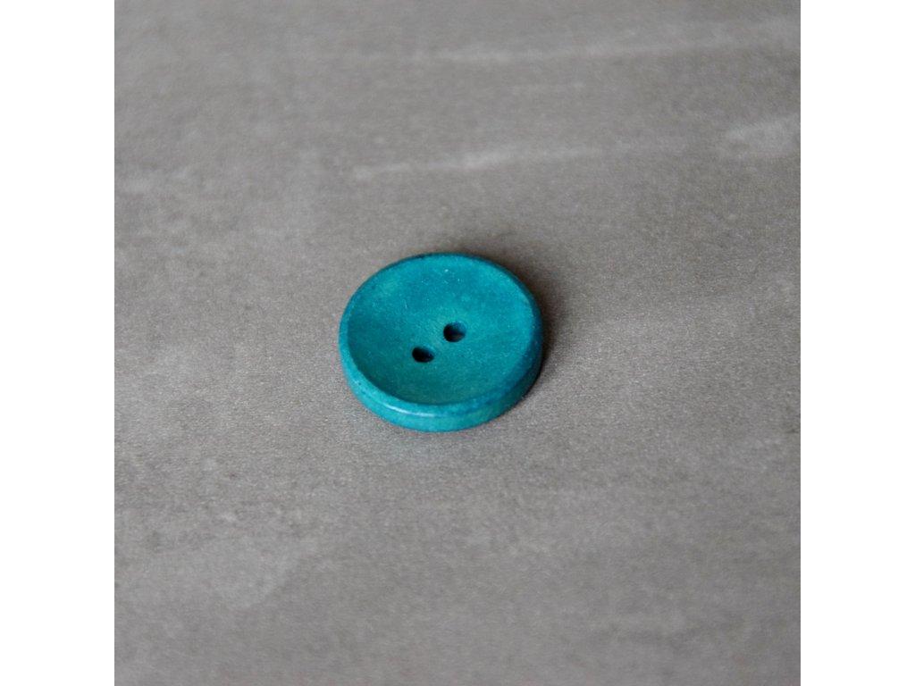 Dřevěný dekorační knoflík - modrý