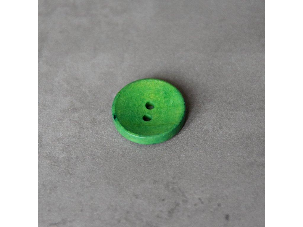 Dřevěný dekorační knoflík - zelený