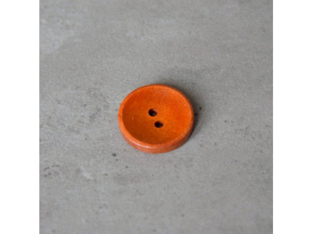 Dřevěný dekorační knoflík - oranžový