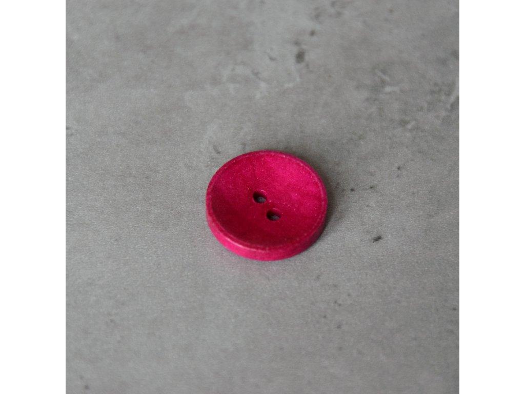 Dřevěný dekorační knoflík - tmavě růžový