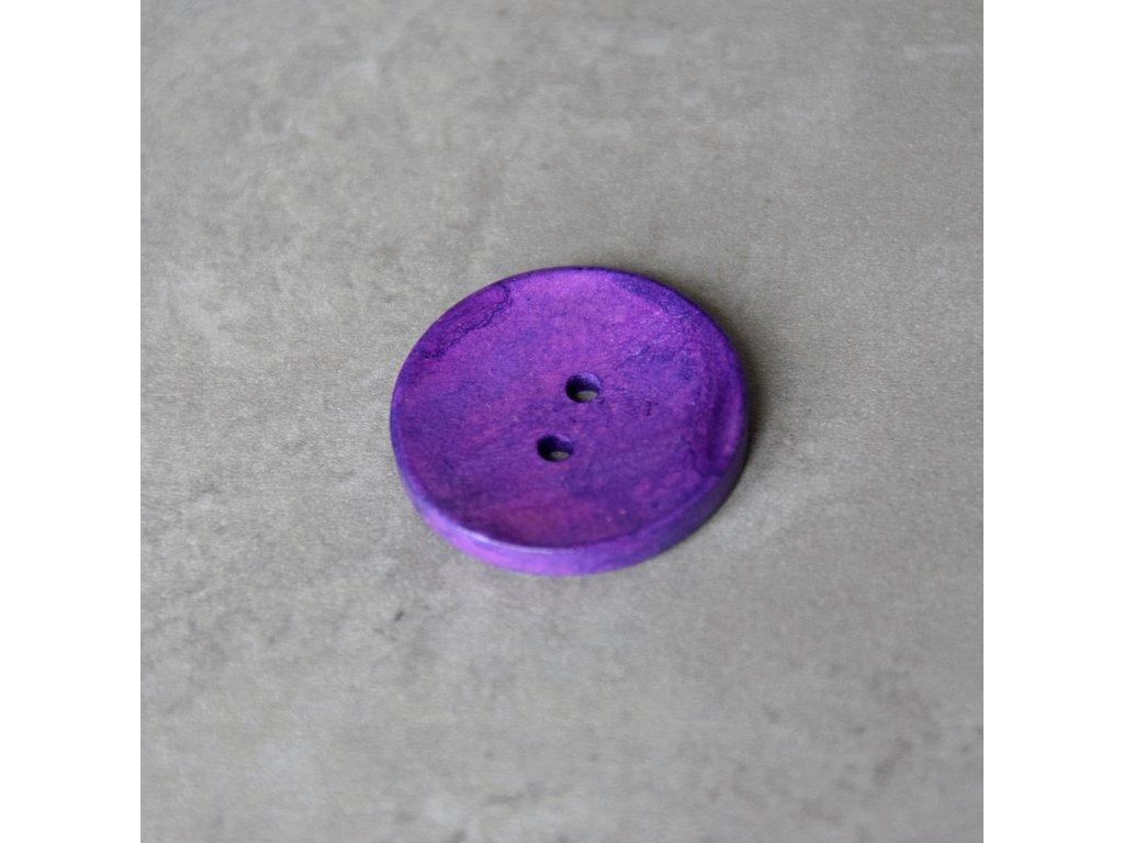 Dřevěný dekorační knoflík - velký - fialový