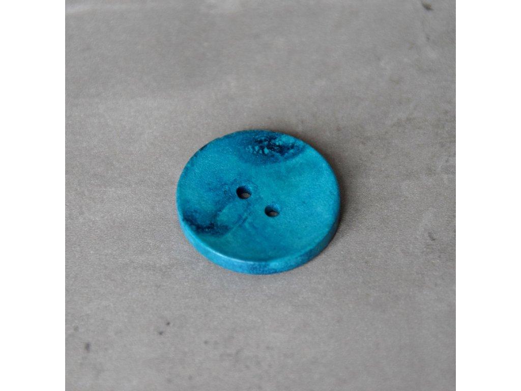 Dřevěný dekorační knoflík - velký - modrý