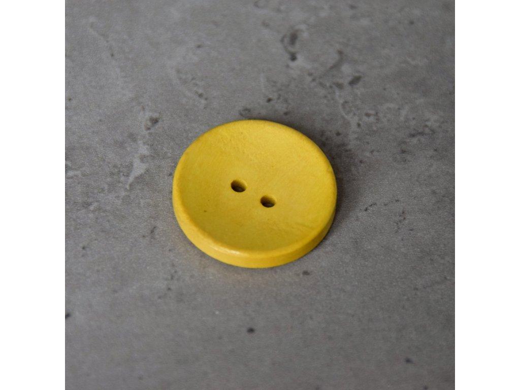 Dřevěný dekorační knoflík - velký - žlutý