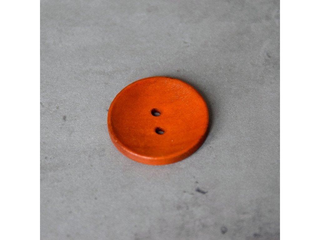Dřevěný dekorační knoflík - velký - oranžový