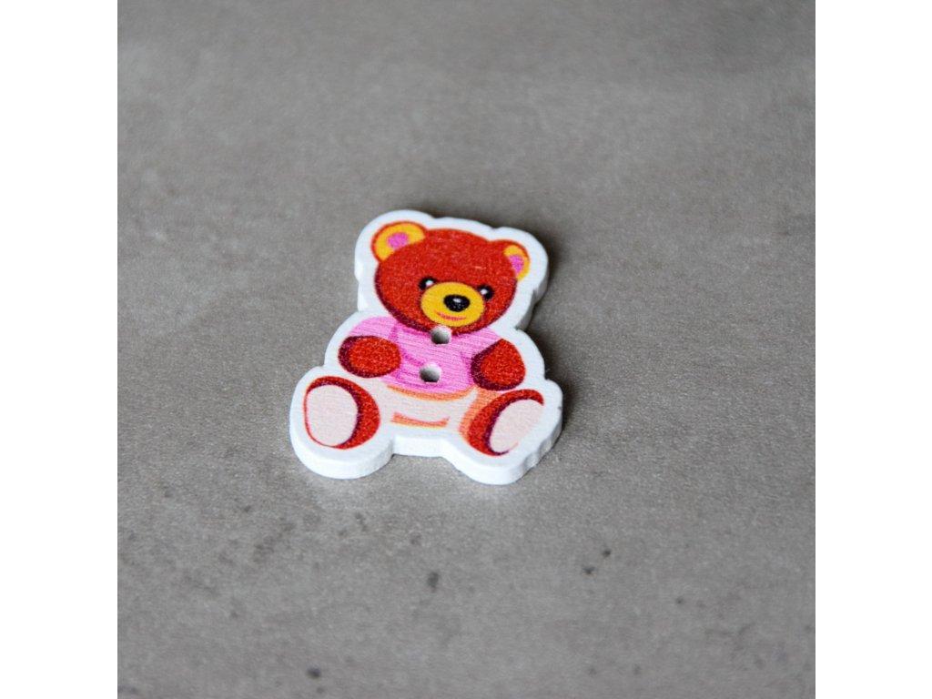 Dřevěný dekorační knoflík - medvídek - růžový
