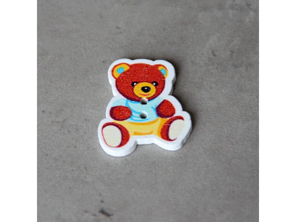 Dřevěný dekorační knoflík - medvídek - modrý