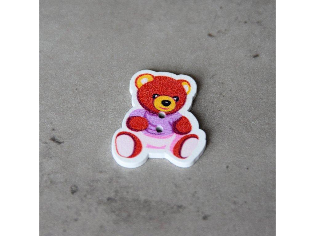 Dřevěný dekorační knoflík - medvídek - fialový