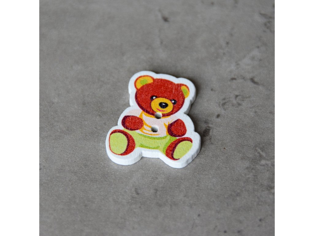 Dřevěný dekorační knoflík - medvídek - žlutý
