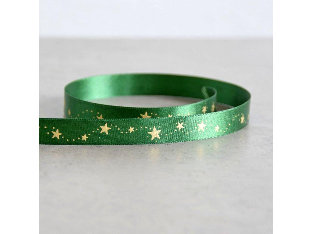 Atlasová stuha - vánoční hvězdičky - zelená, šíře 15 mm