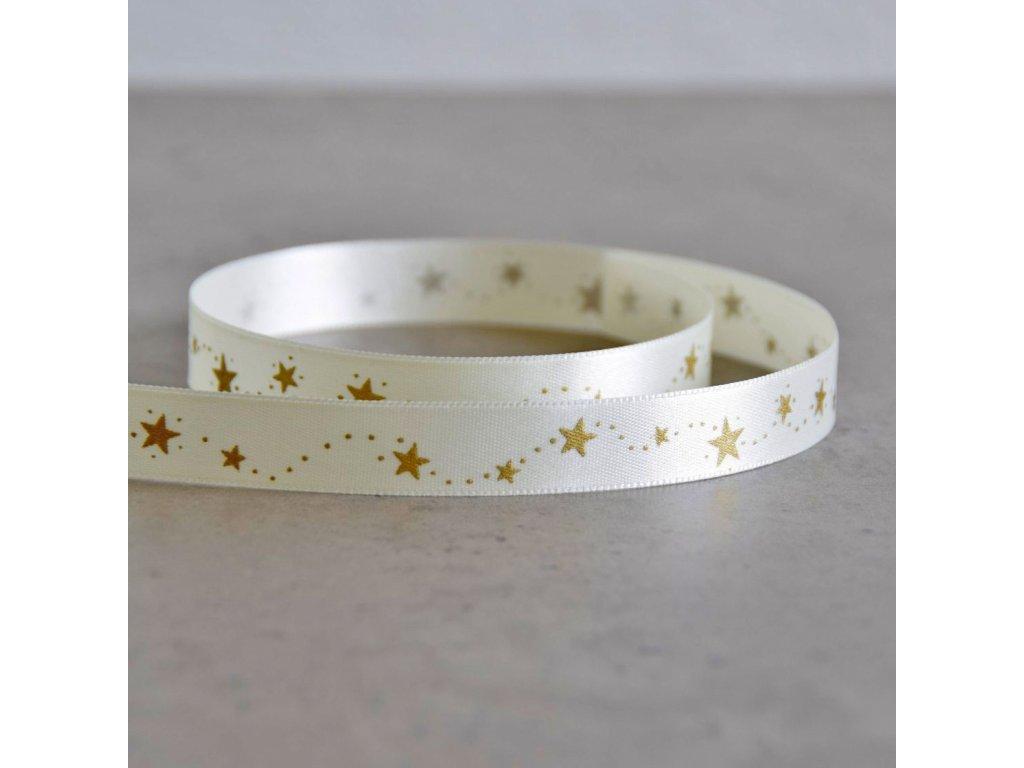Atlasová stuha - vánoční hvězdičky - smetanová, šíře 15 mm