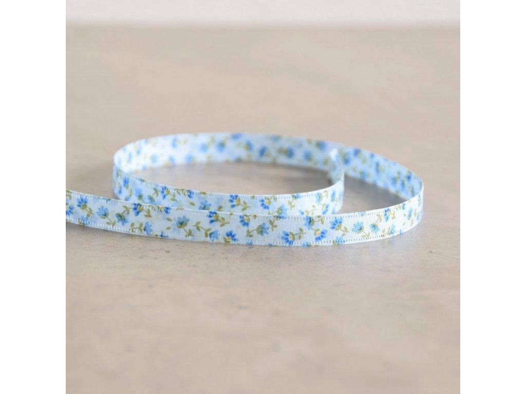 Oboustranná stuha - kytičky - modrá, šíře 10 mm