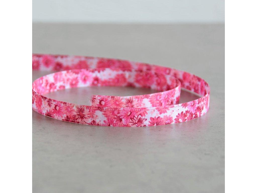 Oboustranná stuha - kytičky - růžová, šíře 13 mm