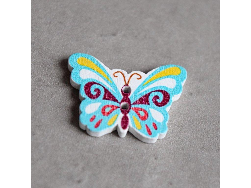 Dřevěný dekorační knoflík - motýlek - modrý