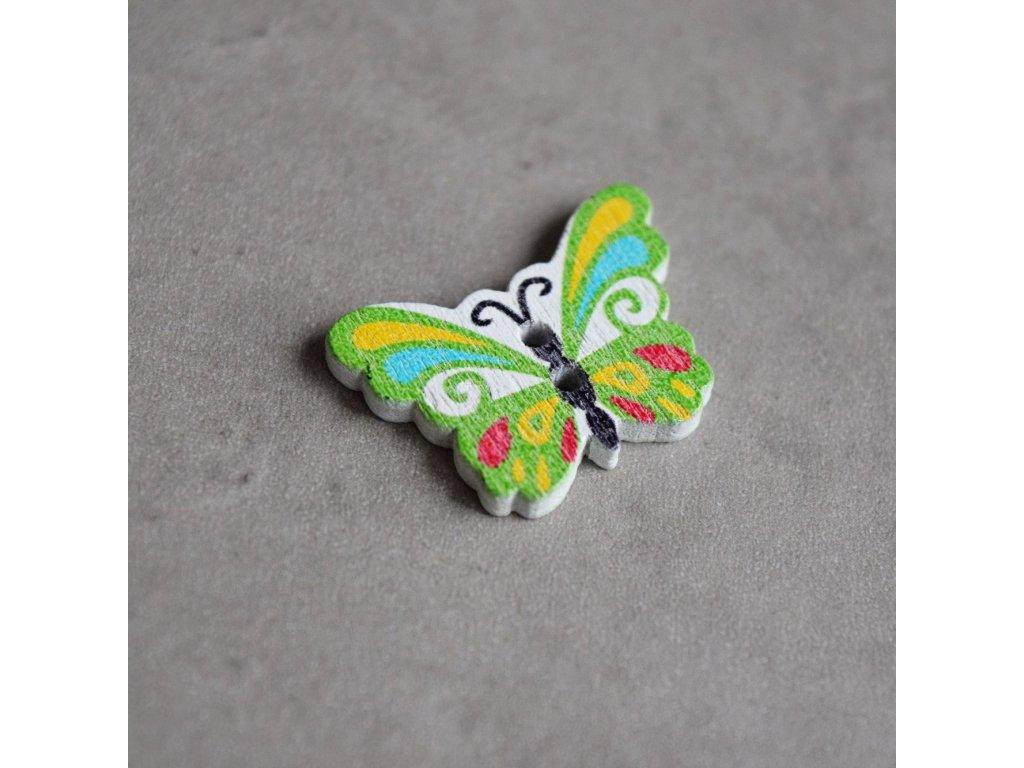 Dřevěný dekorační knoflík - motýlek - zelený