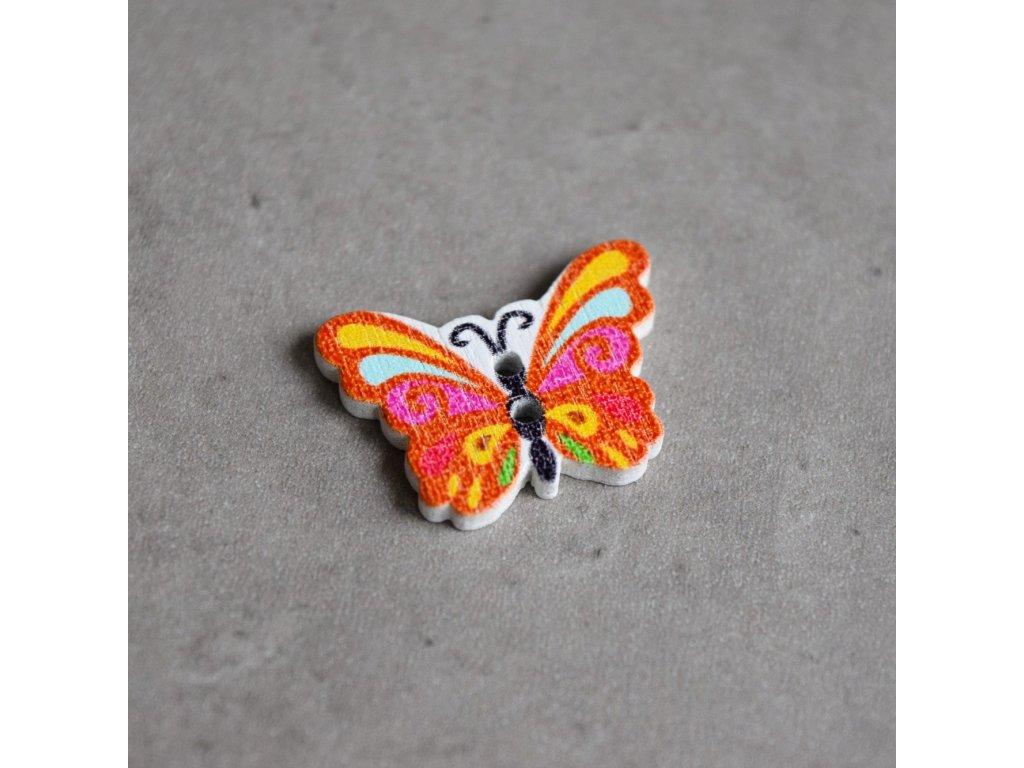 Dřevěný dekorační knoflík - motýlek - oranžový