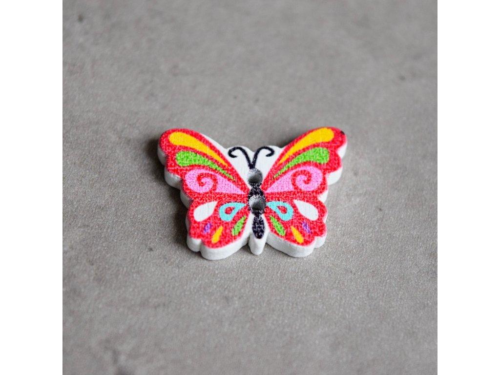 Dřevěný dekorační knoflík - motýlek - červený